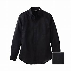 Uniqlo Linen Slim Fit Long Sleeve Shirt in Black for Men ...