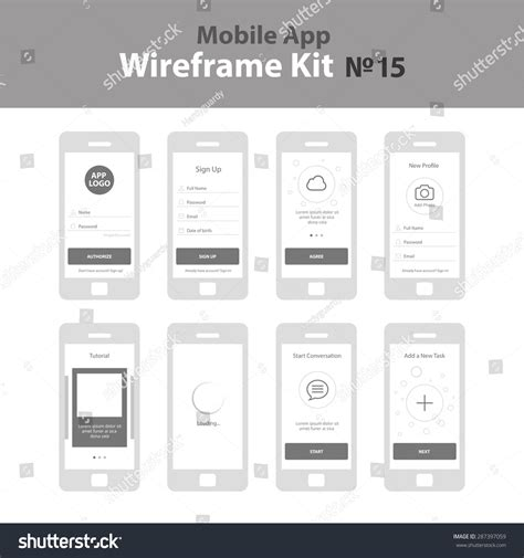 sign up mobile mobile app wireframe ui kit 15 stock vector 287397059