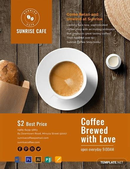 cafe flyer template word  psd apple mac