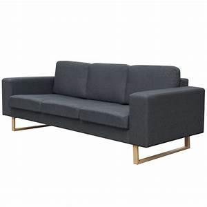 Sofa 3 Sitzer Günstig : vidaxl 3 sitzer sofa stoff dunkelgrau g nstig kaufen ~ Bigdaddyawards.com Haus und Dekorationen
