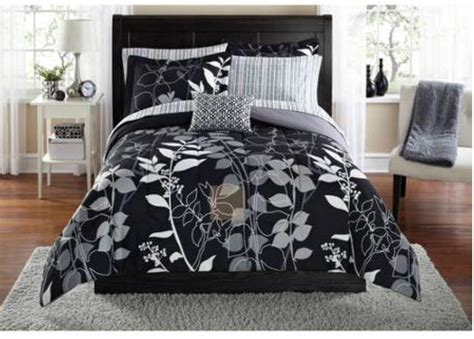 Black + Gray Floral Comforter+sheets+sham+pillow Set Dorm