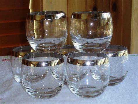 1960's Lowball Whiskey Rocks Glasses, Silver Rim, Vintage