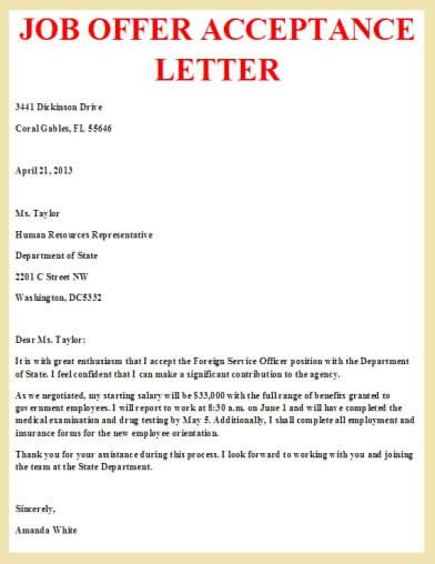 acceptance of job offer letter job offer acceptance letter letter pinterest job