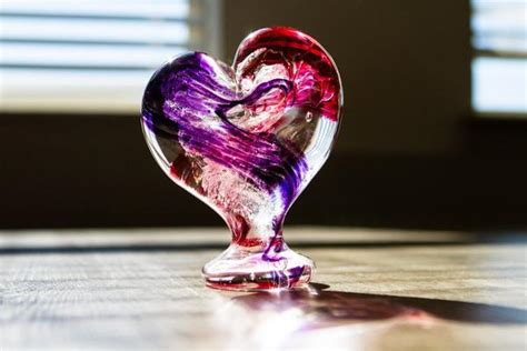 large glass heart  cremains standing  aaron