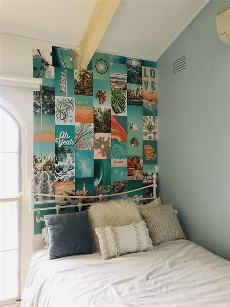 summer blue collage kit etsy photo walls bedroom room