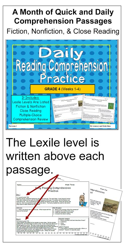 Literacy & Math Ideas Grade 4 Daily Reading Comprehension (organized By Lexile Levels