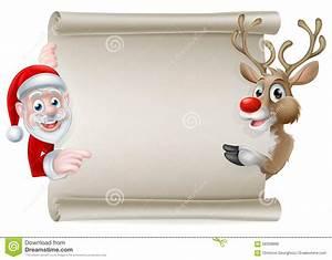 santa reindeer scroll stock vector image of corners With santa scroll letter