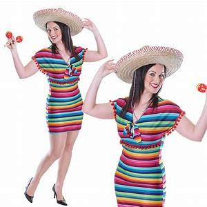 Ladies Womens Mexican Poncho Fiesta Carnival Rainbow Fancy