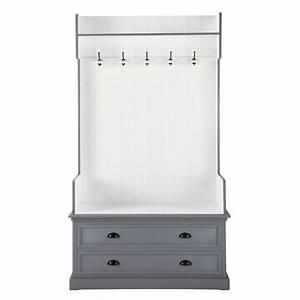 meuble d39entree avec 5 pateres en bois gris l 110 cm With vestiaire maison du monde