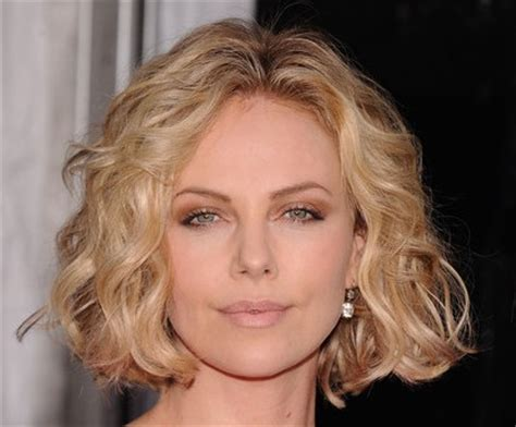 charlize theron blonde curly bob casual everyday