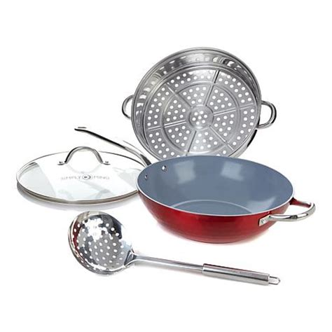 simply ming  piece diamond platinum ceramic nonstick healthy wok set  hsn