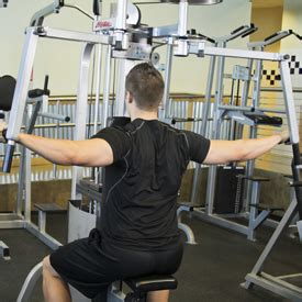 reverse machine flyes arms parallel in front of chest push