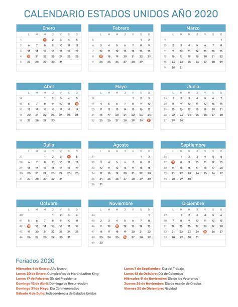 calendario de estados unidos ano feriados