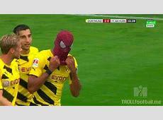 Aubameyang celebrates his goal vs Bayern with a Spiderman