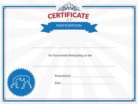 printable wrestling certificate  participation award