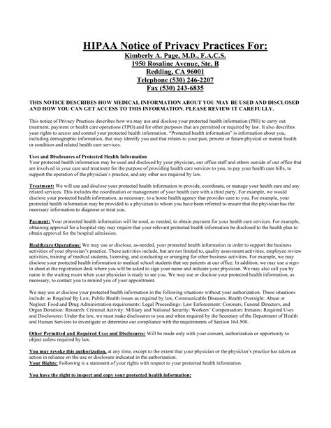 Notice Of Privacy Practices Template by 9 Best Images Of Notice Of Privacy Practices Template
