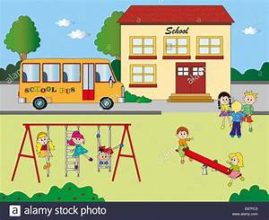 illustration of school with children in playground Stock ...
