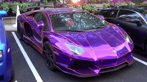 epic chrome purple lamborghini aventador  lb performance