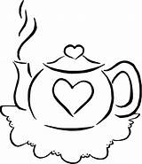 Coloring Teapot Tea Colouring Drink Teacup Printable Sets Pots Clip Parties Sheets Simple Cliparts Template Popular Coffee sketch template