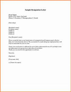 8  Short Resignation Letter Weeks Notice