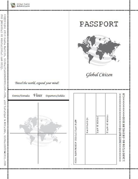 printable passport book whencom image results