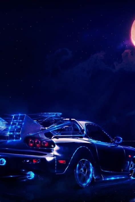 future delorean  night hd wallpaper