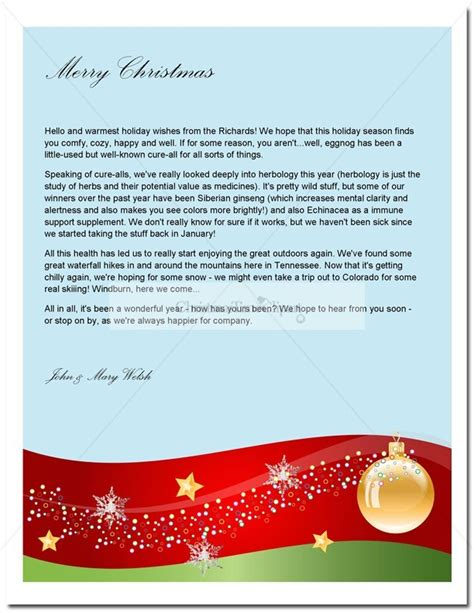 holiday letter template  christmas