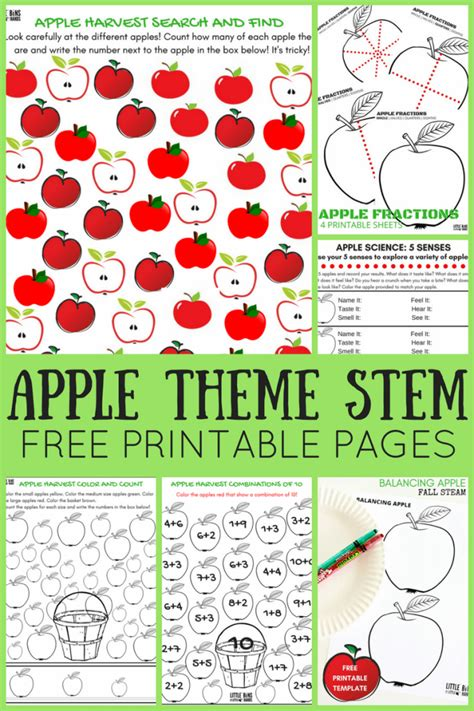 apple worksheets for preschool bins for