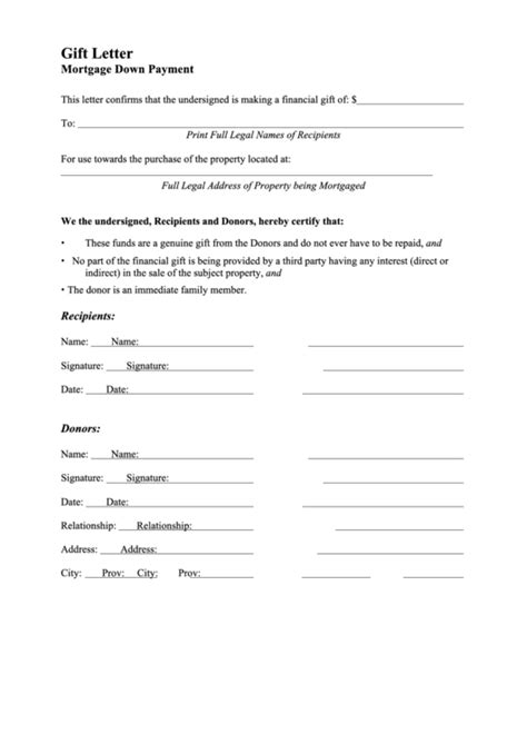 top  gift letter mortgage      format