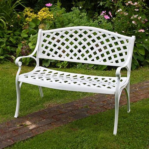 white metal lattice garden bench lazy susan