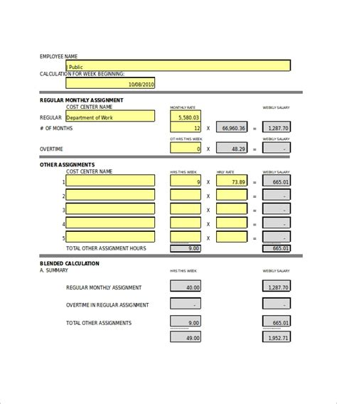 prinatable overtime calculator templates sample templates