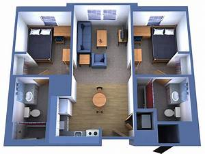 Simple, House, Plan, With, 2, Bedrooms, And, Garage, 3d