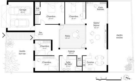 plan de maison 3 chambres plain pied plan maison plain pied 4 chambres ooreka