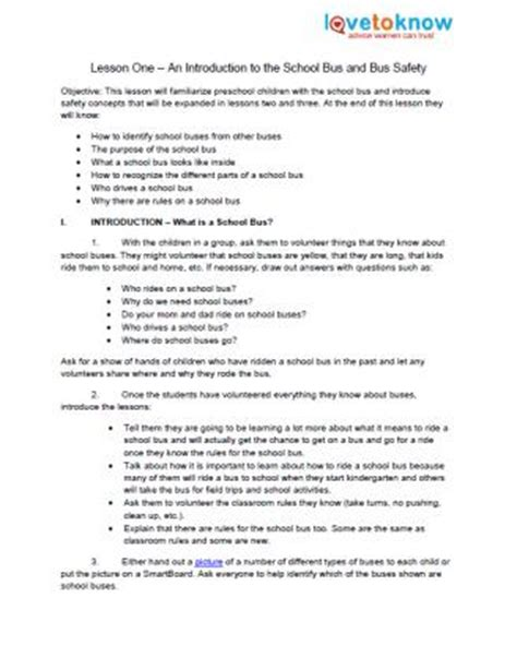 safety lesson plans for preschool lovetoknow 650 | 163221 328x425 bus safety lesson1 thumb