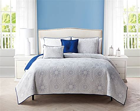 5 Pc Reversible, Blue And White Quilt Set, King Size