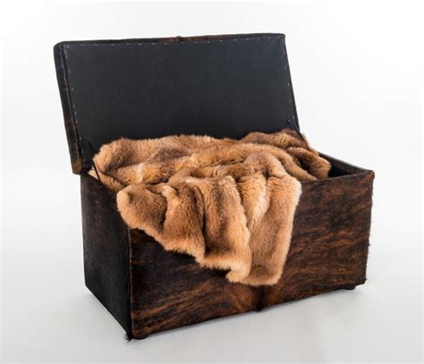 Cowhide Storage Ottoman by Cowhide Covered Storage Ottoman Furniture Rustic