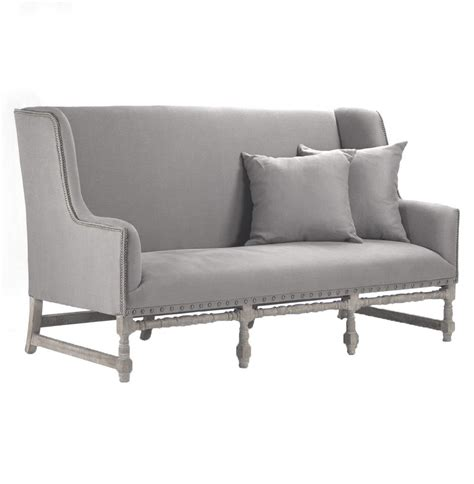 Loveseat Dining Bench by Ausbert Country Grey Linen Dining Bench Sofa