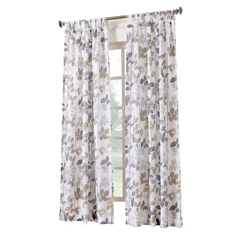 Pattern Drapes - white dorado pattern tab top window curtain panel 84 in