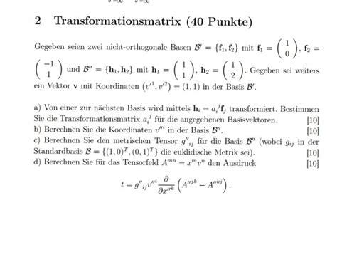 transformationsmatrix berechnen mathelounge