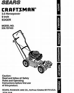 Craftsman 536797460 User Manual 3 5 Hp 9 Edger Manuals And