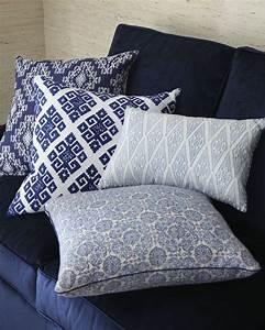 John Robshaw Blue White Block Print Pillows Horchow