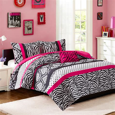 Hot Pink Black White Zebra Print Teen Girl Bedding Twin