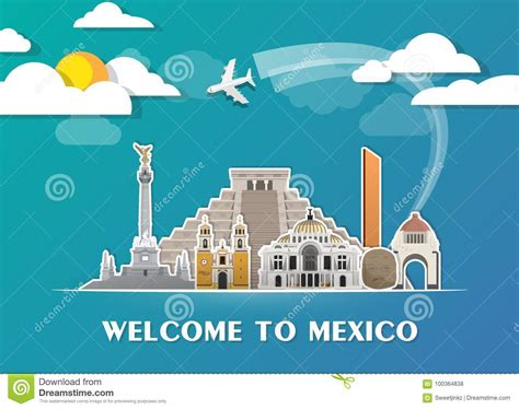 Mexico Landmark Global Travel And Journey Paper Background