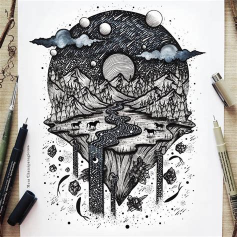 Artist Merges Nature Fantasy Mesmerizing Ink Drawings