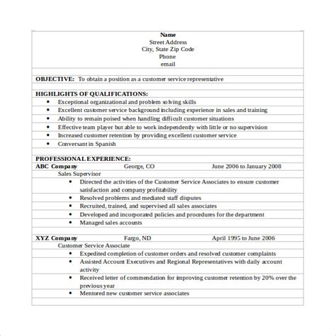 customer service resumes   sample templates