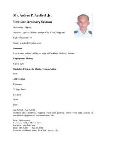 ordinary seaman curriculum vitae sle resume for ordinary seaman