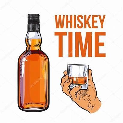Whiskey Bottle Glass Holding Shot Whisky Bourbon