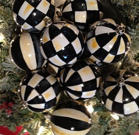 hand painted black white check christmas ornaments black and white pinterest christmas
