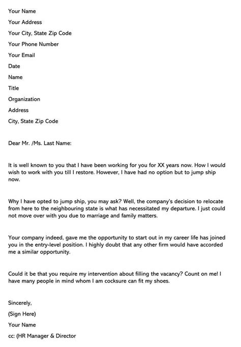 Sample Resignation Letter (Due to Changes in Company)
