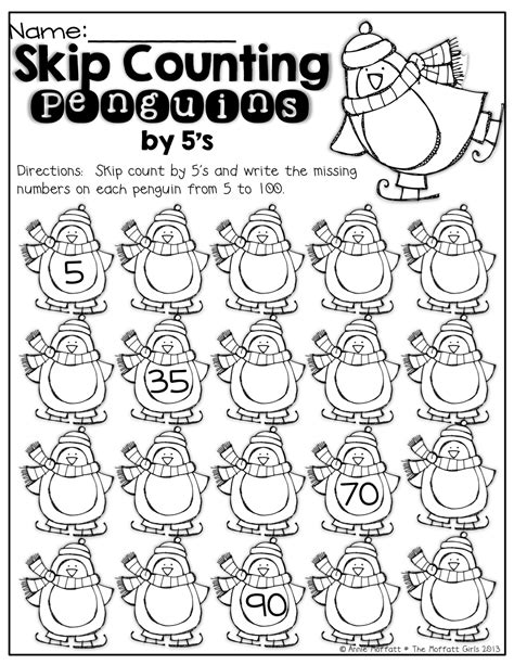 skip counting penguins count by 5 s kindergarten math